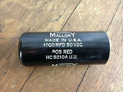Nos - Mallory Capacitor Hc5010a 1000 Mfd 50 Vdc Wh-15