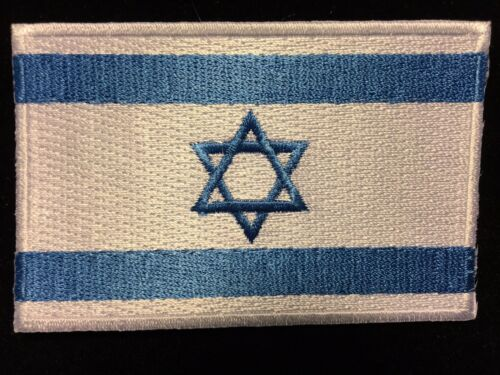 """ISRAEL FLAG STAR OF DAVID EMBROIDERED PATCH APPLIQUE IRON-ON SEW-ON - 3.5""""x2.25"""""""