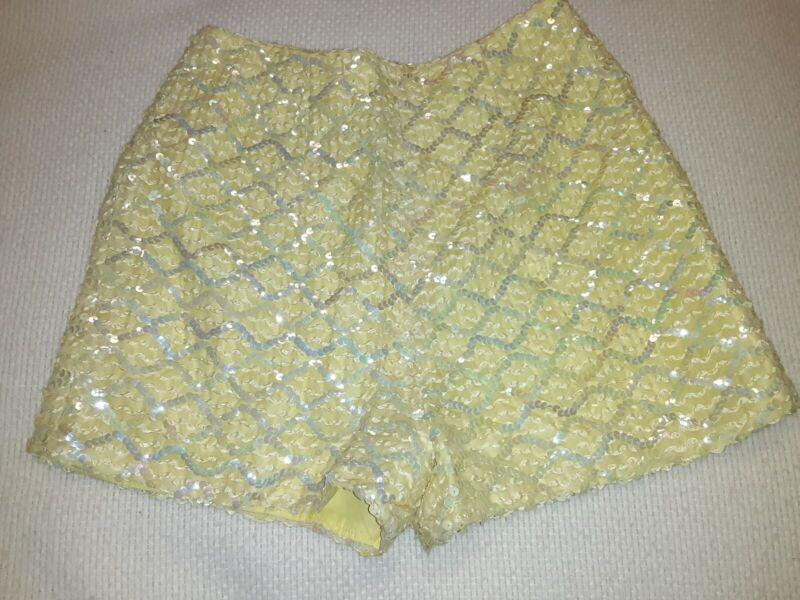 True Vintage 1950s Yellow Sequins Pin Up High Waist Shorts Back Zip Womens 9 10