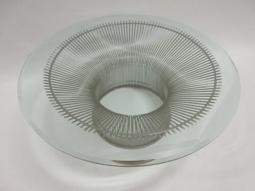 """Genuine KNOLL Platner 36"""" Coffee Table Nickel Base w/ Glass Top - 5 Available"""