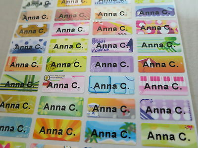 (150 Colorful Tiny Personalized Waterproof Name Stickers Daycare School Labels)