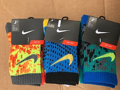 Kids boy or girl Nike 3-Pack Graphic Crew Socks fits shoe size 13C-3Y