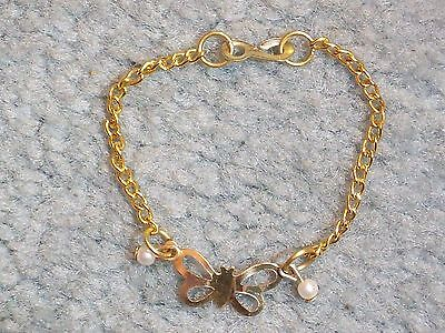 "BRACELET BUTTERFLY METAL PLASTIC PEARLS 1 ¾"" DIAMETER CHILD'S JEWELRY CHILDS"
