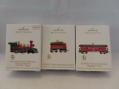 Nutcracker Route Christmas Train Hallmark 2008 Lionel Set Of 3 Ornaments NIB