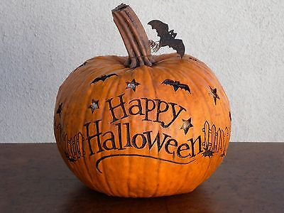 Salem In Halloween (SALEM COLLECTION HAPPY HALLOWEEN LARGE PUMPKIN CARVED BATS USA 95058 NEW IN)