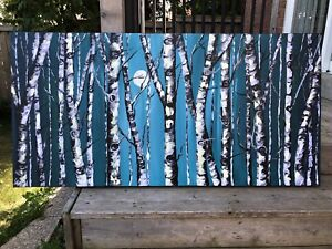 Birch Tree Painting Teal Canvas Wall Art Handcrafted by Sami