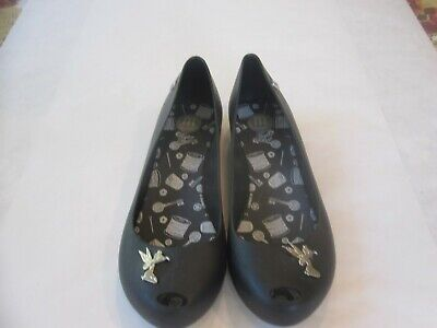 Melissa Shoes Sz.6. Black. Rubber. Disney Character on Toe