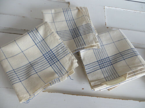 Unused 3 Three Finest  Linen Towels Blue  Stripes  23 inch by 22 inch german