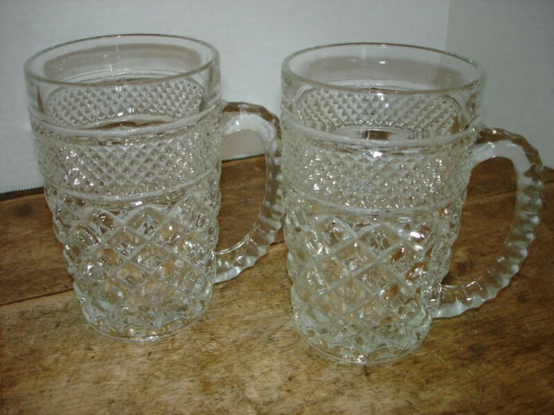 Set of 2 Anchor Hocking Wexford Beer Drink Mugs 14oz. Diamond Point Pattern
