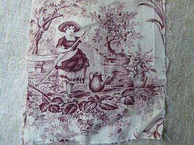 Old Textile Hand Painted floral on paper rare collectible designs vintage style