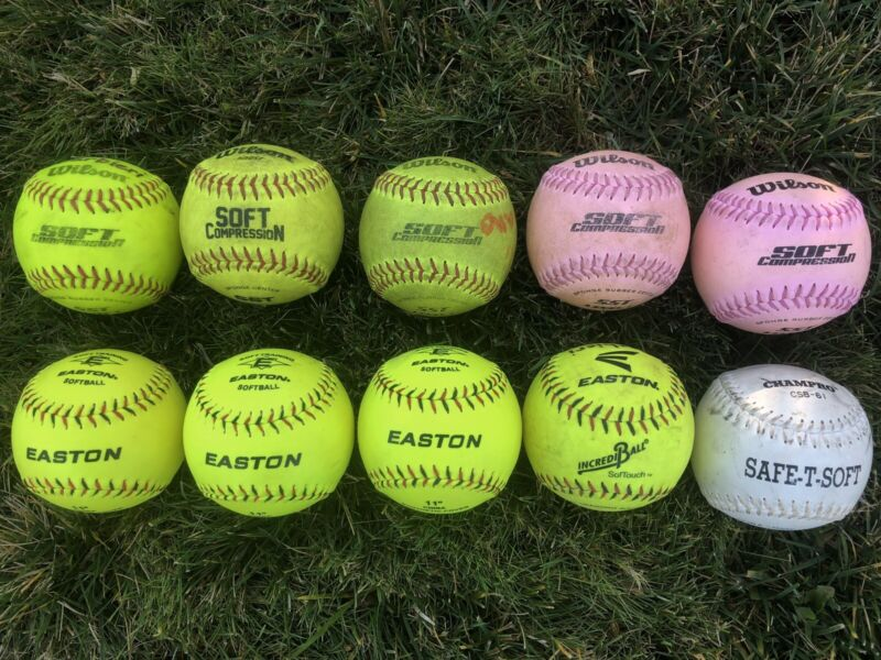 lot of 10 softballs 11 inch Soft Compression Training Softballs FREE  SHIPPING