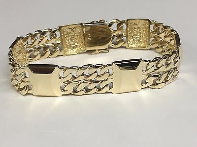 14k Solid Yellow Gold handmade Curb and BAR link bracelet 7.5