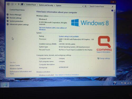 "COMPAQ CQ58-BF9WM LAPTOP 15.6"" 320GB 1GHZ 2 GB Ram  Upgraded To Windows 10"
