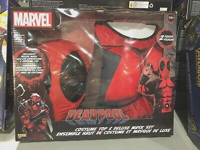 NIB Marvel Comics Deadpool Deluxe Costume Box Set Top Mask Teen Boys Child 14-16