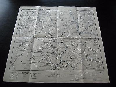 alte Karte Landkarte Amtliche Entfernungskarte von Thüringen Blatt V von 1954