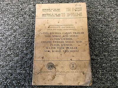 1955 War Dept M104 M104a1 M105a1 Cargo Trailer Owner Service Repair Manual