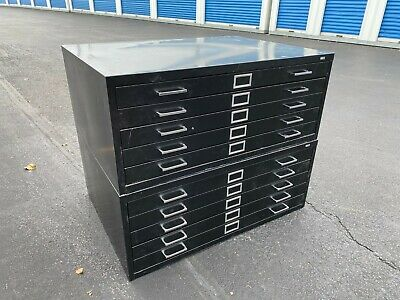 Vintage 10 Drawer Flat File Blueprint Cabinet With Base 40 12 W