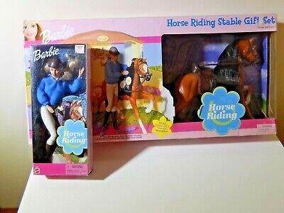 NIB BARBIE DOLL 2001 HORSE RIDING STABLE GIFT SET AND HORSE RIDING BARBIE DOLL
