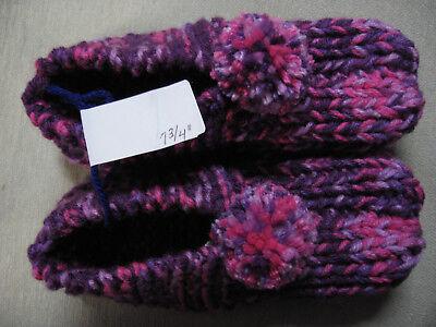 "Handmade Knit Booties House Slippers Purple/Pink Teen/Girl Slippers 7 3/4"""