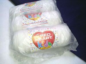 NEW DISCONTINUED Red Heart KIDS Yarn 3- 5 oz Skeins Factory Packaged WHITE