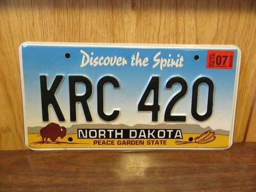 2007 North Dakota 420 License Plate Tag # KRC-420 Cannabis Marijuana