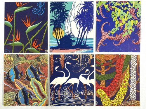 1950s DON BLANDING mini color offset prints HAWAIIAN & FLORIDA THEMES Lot of Six