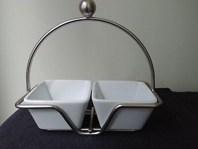 Pampered Chef - Set of 2 Simple Additions Small White Bowls and Metal Caddy
