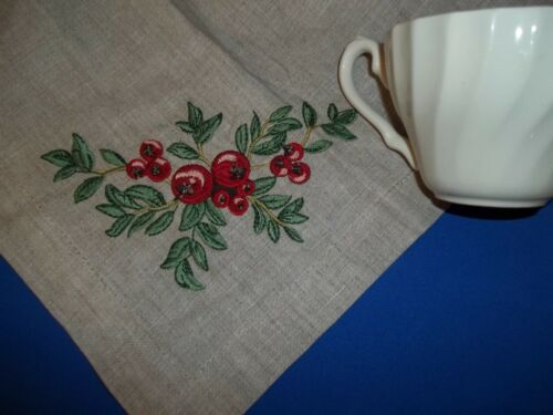 "4 Williams-Sonoma Linen Dinner Napkins 20"" Taupe Embroidery Holiday Holly Berry"