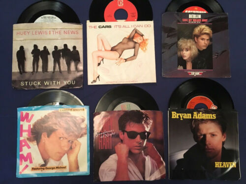 1980s 45 Records Lot Of 6 with Sleeves Vinyl-Huey Lewis-Bryan Adams-Cars-Wham