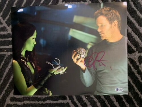 Guardians of Galaxy Zoe Saldana Chris Pratt Autographed 11x14 Photo Beckett COA