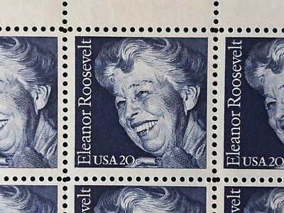 Vintage 1984 USPS Plate Block of 8 Eleanor Roosevelt Stamps MNH Scott #2105