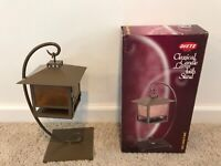 Hexagon Oil or Tea Lamp Candle Lantern and Wrought Iron Holder Dietz Combo