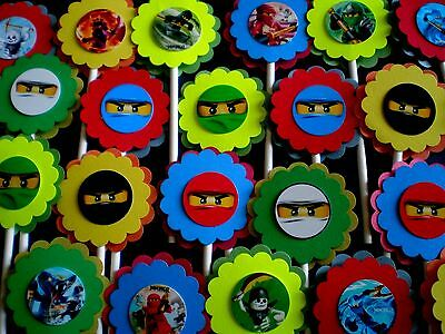 30 NINJAGO NINJA Cupcake Toppers Birthday Party Favors, Baby Shower Decoration