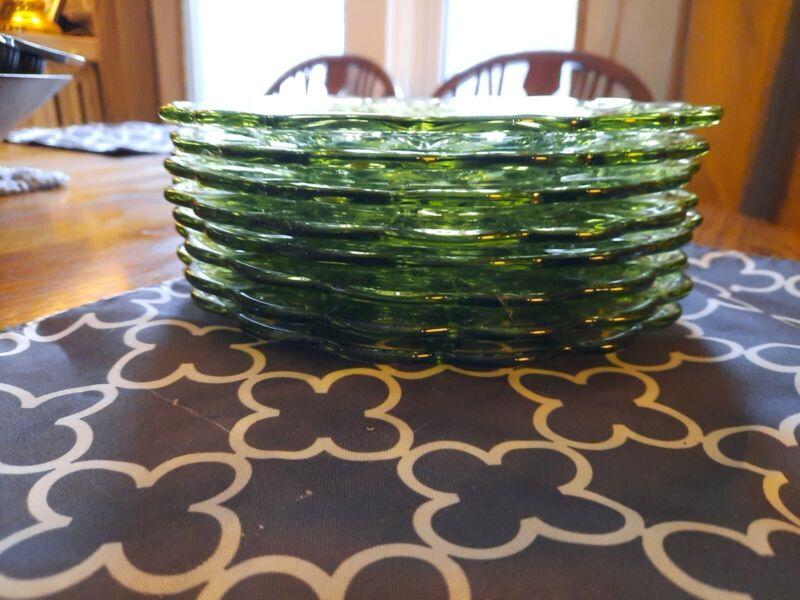 Set of 8 Vintage Green Glass Salad Plates