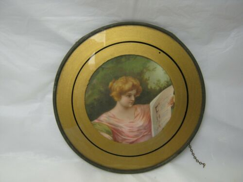 "VINTAGE GLASS FLUE COVER YOUNG LADY READING PAPER 7.75"" LATE 1800"