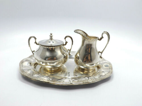 Vintage Mexico Sanborns Solid Sterling Silver Sugar Creamer & Tray Set, RRR