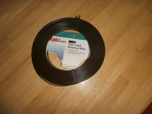 25 FT VINTAGE BROWN 300 OHM FLAT TWIN LEAD TV FM ANTENNA WIRE ,NOS