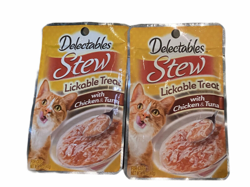 HARTZ DELECTABLES STEW WITH CHICKEN AND TUNA LICKABLE CAT TREATS , PACK OF 2 !