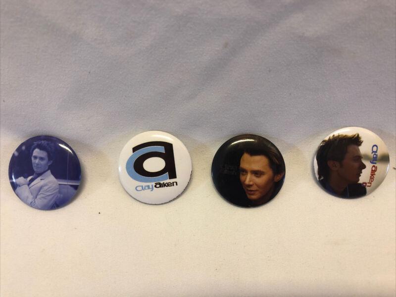 Clay Aiken 2004 Tour Collectible Pins - 4 button pins