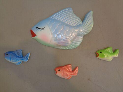 VTG Mid Century Modern Ceramic Fish Bathroom Wall Art Hanging Retro 50