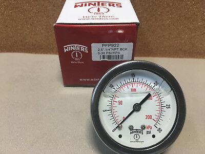 Winters Pressure Gauge Ss Liquid Filled Pfp922 2.5 14 Npt Back 0-30 Psikpa