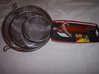 "Cook Pro Stainless Steel Mesh Strainers with Wood Handles, Set of 3,  4"", 6"", 8"""