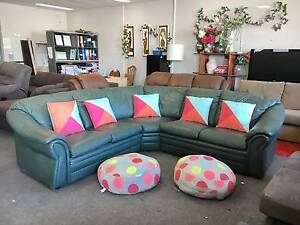 TODAY DELIVERY LUXURIOUS GENUINE LEATHER L shape sofas set lounge Belmont Belmont Area Preview