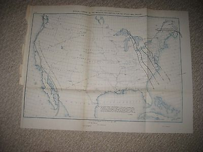 ANTIQUE 1887 MAGNETIC DECLINATION LINES UNITED STATES MAP TEXAS TERRITORY RARE Magnetic Map United States