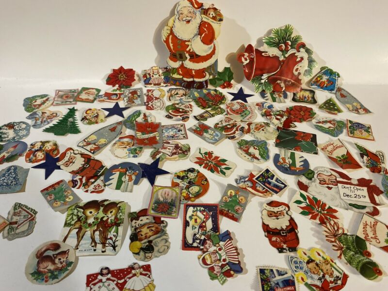 Rare Vintage Christmas Seals Stamps Lot Of 200+ 1930-1950s Some Foil And Flocked
