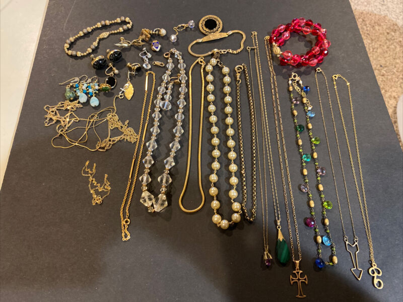 Vintage Gold Filled Lot 175g- Necklaces; Earrings; Mixed Lot For Scrap