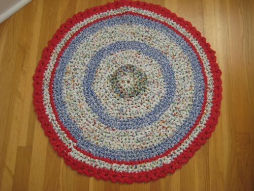 "Hand Crocheted RAG Rug Red CONFETTI Blue White Cotton 31"" Round Reversible"