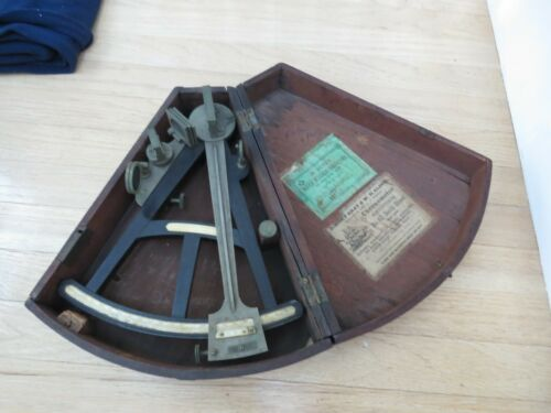 Antique  boxed Sextant  Nautical Instrument  Grey and Alder New York