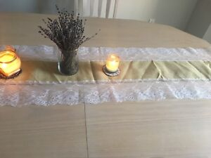 Brand new burlap lace table runner