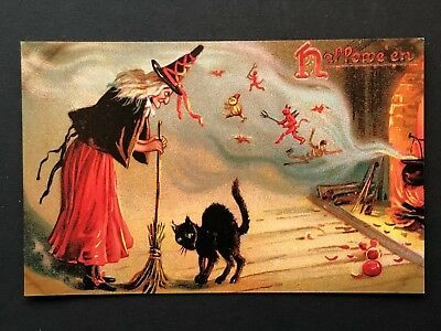 repro vintage postcard HALLOWEEN WITCH BLACK CAT BROOM Pleiades Press p200 NOS (Vintage Halloween Cat Postcards)